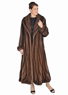 Mink Coat - Trumpet Hemline Soft Brown Mink