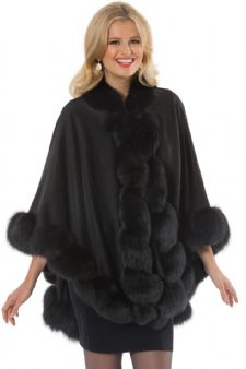Cashmere Cape - Black Fox Trim - Marquessa