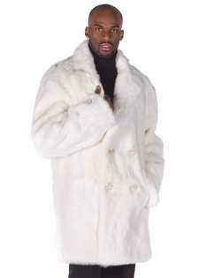 Mens White Fur Car Coat