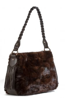 Mahogany Mink Handbag Braided Leather Handle