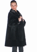 Sheared Mink Fur Jacket-Black Mink Shawl Collar