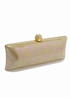 Evening Bag- Gold Leather Swarovski Crystal Clasp