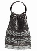Evening Bag -Gunmetal Silver Mesh Soft Handbag