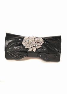 Lizard Leather Clutch Bag- Swarovski Roses