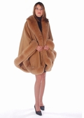 Cape - Fox Trimmed Cashmere Cape Taupe - Majestic