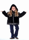 Childrens Hooded Black Mink Jacket