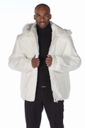 Mens White Fur Zippered Jacket Detachable Hood