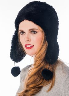 Black Sheared Rex Rabbit Aviator Hat - Pom Poms