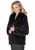 Mink Jacket Shawl Collar Tulip Hem -Ranch 25