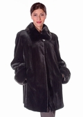 Mink Jacket - Sheared Mink Fur / Mink Collar Cuffs