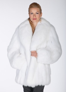 White Fox Fur Jacket- Shawl Collar