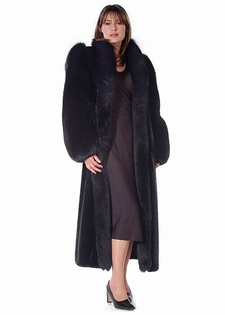 Mink Fur Coat - Black Fox Sleeve