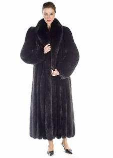 Fox Fur Coat - Black Fox Fur Coat Full Length