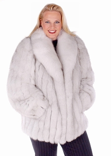 Blue Fox Fur Jacket Plus Size -  29