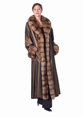 Sable Crosscut Trim-Reversible Sheared Mink Coat