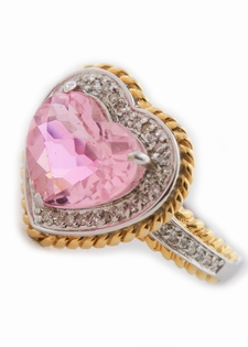 Diamond Pink Quartz Cocktail Fashion Ring