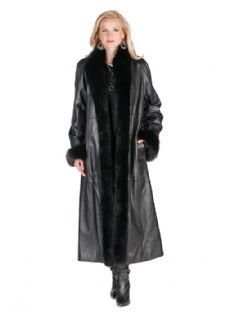 Fox Trimmed Leather Coat - Black Fox Cuffs