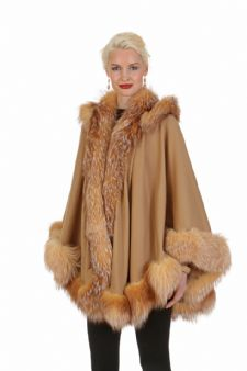 Cashmere Cape-Camel - Crystal Fox-Detachable Hood