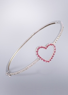 Diamond and Pink Sapphire Heart Bangle Bracelet