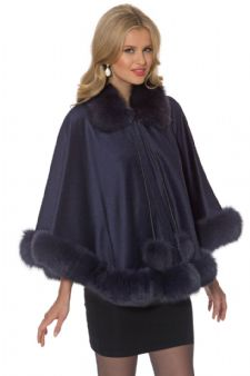 Navy Cashmere Cape-Navy Dyed Fox- Duchess