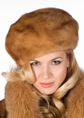 Golden Dyed Mink Fur Hat- Golden Mink Beret