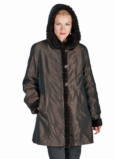 MahoganySculptured Mink Jacket-Reversible Hood