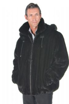 Mens Ranch Mink Jacket -Full Pelt Detachable Hood