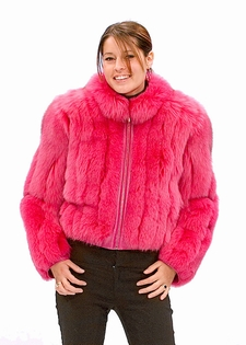 Pink Fox -Zippered  Fur Jacket