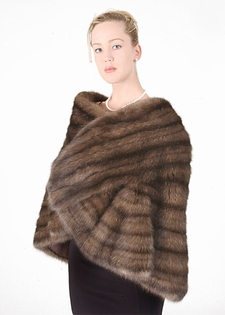 Ruffled Russian Sable Fur Stole - Russian Sable