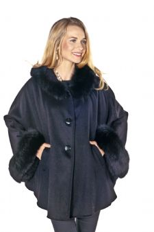 Plus Size Hooded Black Cashmere Jacket-Fox Cuffs