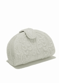 White Beaded Evening Bag - White Satin