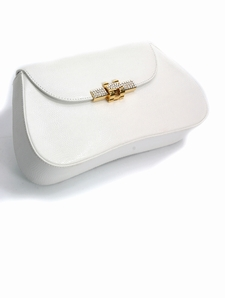 Leather Clutch - White Swarovksi Crystal Ornament