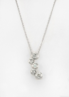 Diamond Pendant Necklace - Bezel Set Diamonds