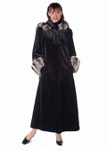 Sheared Mink Fur Coat - Chinchilla Trimmed Hood