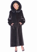 Hooded Mink Coat - Female Mink Detachable Hood