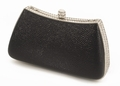 Lizard and Swarovski Crystal Evening Bag - Black