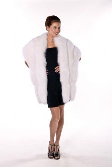 Fur Cape - White Fox Fur Wrap with Double Fox Trim