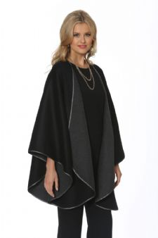 Cashmere Cape - Black Reversible to Grey