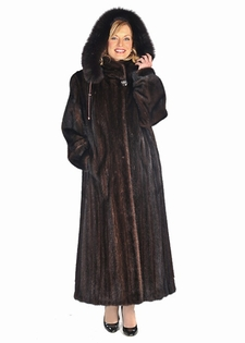 Hooded Mink Coat - Mahogany Mink Detachable Hood