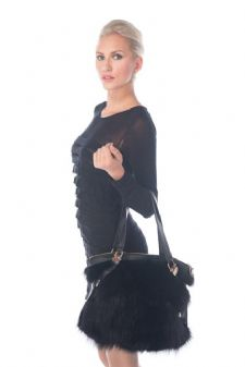 Fur Tote - Black Zippered Fur Tote