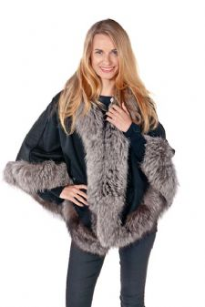 Black Cashmere Cape-Silver Fox Trim Princess Style