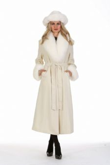 Winter White Cashmere Coat – White Fox Collar and