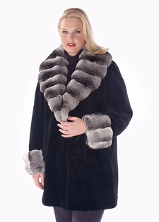 Chinchilla Trimmed Sheared Mink Jacket - Plus Size