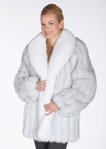 Natural White Natural Blue Fox Fur Jacket - 29