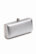Evening Bag-Silver Embossed Leather Double Handle