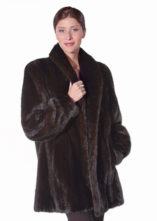 Mink Fur Jacket - Mahogany Mink Fur Shawl Collar