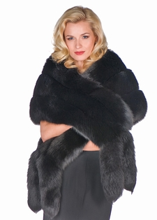Fur Cape - Black Fox Fur Wrap with Double Fox Trim