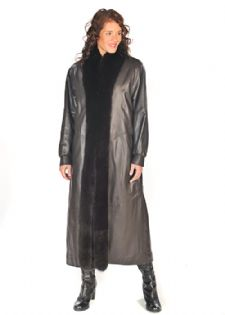Fox Trimmed Leather Coat - Dark Brown