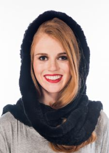 Black Sheared Rex Rabbit  Hooded Scarf