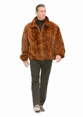 Mens Mink Fur Jacket - Golden Mink Bomber Style
